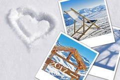 2017 sofortige Fotos des Winters im Schnee Lizenzfreie Stockfotografie