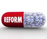 Sofortige Reform - Kapsel-Pille verspricht Verbesserung und Verlegenheit Lizenzfreie Stockbilder