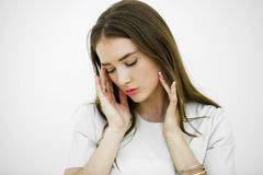 Sofrimento da jovem mulher da dor Fotografia de Stock Royalty Free