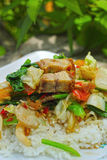 Sofrito asado curruscante del cerdo con las verduras y el arroz. Imagen de archivo