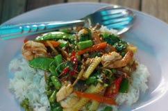 Sofrito tailandés de los mariscos Foto de archivo