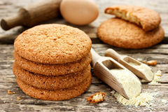 Soft American cookies from corn flour on old wooden table Stock Photos