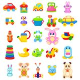 Toys for Little Children Big Illustrations Set. Soft animals, easy constructors, toys on wheels, rubber duck and fish, beetle xylophone, colorful pyramid and Royalty Free Stock Photo