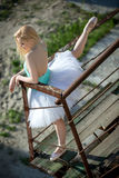 Soft ballerina with blond hair in a white tutu Royalty Free Stock Images