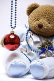 Soft bear with Christmas ball Stock Photography