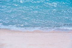 Soft beautiful ocean wave on sandy beach,Top view. Soft beautiful ocean wave on sandy beach,Top view,Amazing nature background stock images