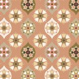 Soft beige and green seamless ogee decorated and textured pattern. Elegant beige, green and orange decorated and textured ogee and floral pattern for textile royalty free illustration