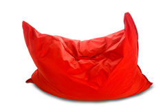 Soft big red square shaped beanbag sofa chair Royalty Free Stock Photography