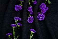 Soft black fabric. With embossed pattern patterns Royalty Free Stock Images