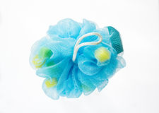 Soft blue bath puff or sponge Royalty Free Stock Images