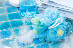 Soft blue bath puff or sponge Royalty Free Stock Photography