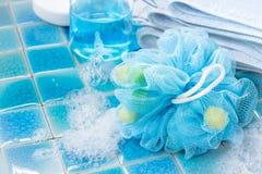 Soft blue bath puff or sponge Royalty Free Stock Photography