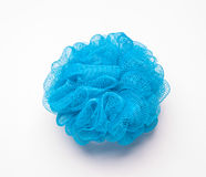 Soft blue bath sponge isolated on white background with copy space Royalty Free Stock Photography