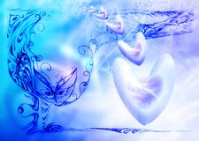 Soft  blue celestial background with hearts Royalty Free Stock Photo