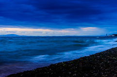 Soft Blue Clouds Over The Ocean Royalty Free Stock Images