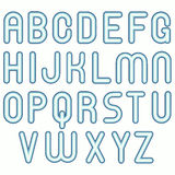 Soft blue cold child funny bubble fonts Stock Image