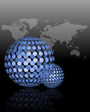 Soft blue 3d business spheres on gray abstract background. Transparent 3d spheres with gray map of the world background Stock Photo