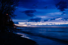 Soft Blue Evening Shoreline Stock Photo