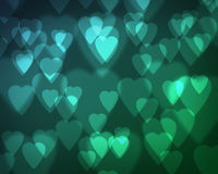 Soft Blue Green Heart Bokeh Stock Images