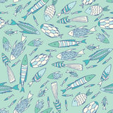 Soft blue pattern with fishes in a chaotic manner Royalty Free Stock Images