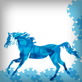 Soft blue running horse, abstract background Stock Images