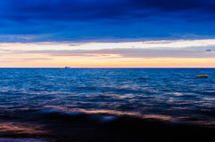 Soft Blue Sunset Sea stock photo