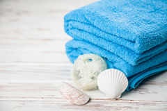 Soft blue towels Stock Photo