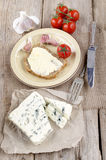 Soft blue veined cheese and bread Royalty Free Stock Photography