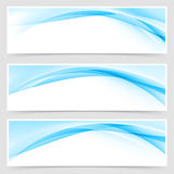 Soft blue wave border template header set Stock Photography