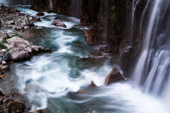 Soft blur of waterfall. Into blue green rocky pool stock image