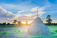 The soft blurred and soft focus silhouette of the sunset with th. E farmer practice how to store straw,hayrick,animal feed,fodder, the beautiful sky and cloud in Royalty Free Stock Image