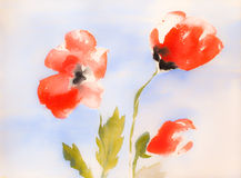 Soft blurry watercolor poppies. Soft blurry watercolor painting of three red poppy flowers with blue sky background Royalty Free Stock Image