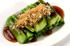Soft boil Chainese - Broccoli with oyster sauce. Soft boil Chainese and broccoli garlic with oyster sauce stock photo