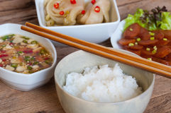 Soft boil rice with other food Stock Photos