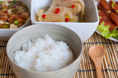 Soft boil rice with other food Royalty Free Stock Image