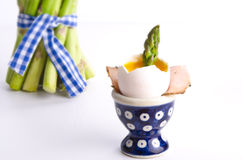 Soft-boiled egg with asparagus Stock Photo