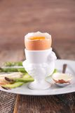Soft boiled egg and asparagus Royalty Free Stock Images