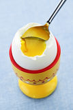 Soft boiled egg in cup Royalty Free Stock Photography
