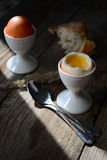 Soft boiled egg in egg cup, country breakfast Royalty Free Stock Photo