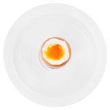 Soft boiled egg in egg cup on white plate Stock Image
