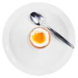 Soft boiled egg in egg cup on white plate Royalty Free Stock Photos