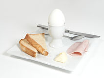 Soft boiled Egg with ham and toast Stock Photography