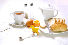 Soft-boiled egg meal Stock Images