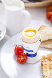 Soft-boiled egg in the morning with toast. In the background of Royalty Free Stock Photo