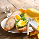 Soft-Boiled Egg sandwich with Green Salad and Mayonnaise Royalty Free Stock Image