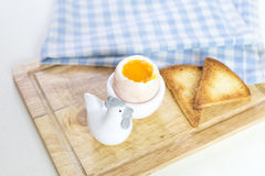 Soft boiled egg and toast. For breakfast Royalty Free Stock Photography