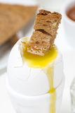 Soft boiled egg with toast, close-up Royalty Free Stock Photos