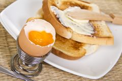 Soft boiled egg with toasts Stock Photos