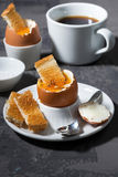 Soft boiled egg, toasts and coffee for breakfast Stock Images