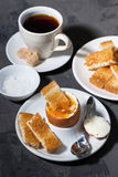 Soft boiled egg, toasts and cup of coffee for breakfast Royalty Free Stock Photography